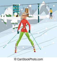 winter., montagnes, femme, plat, repos, resort., jeune, illustration, vecteur, ski, girl, dessin animé