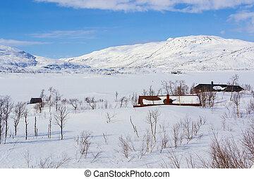 winter., montanhas, inverno cênico, norueguês, vista