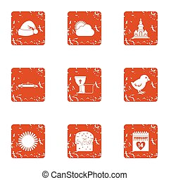 Winter month icons set, grunge style