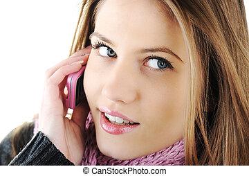 winter, mooi, meisje, het spreken, op, mobiele telefoon