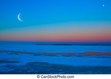 winter moonlit night background - frozen ice lake winter...