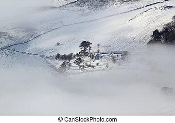 winter moorland - Scottish moorland landscape in snow, sun...