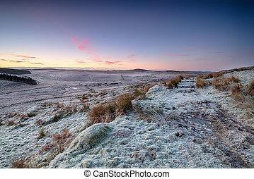 Winter Moorland - Sunrise over frosty winter moorland on...
