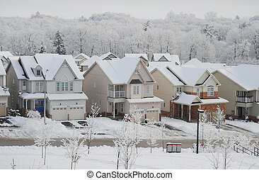 Winter morning in the small town - Snowy winter morning in...