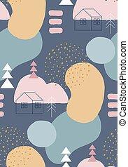 winter, motieven, kleuren, pastel, abstract, seamless