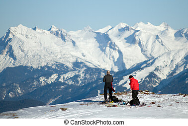 Winter mountain climbing
