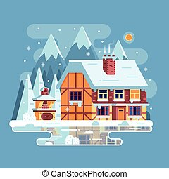 Winter Mountain House with Chimney