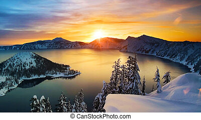 Winter, mountain lake at sunrise