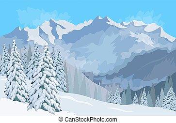 Winter mountain landscape. coffee mug on the windowsill . Vector