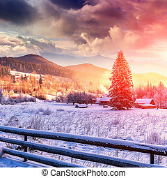 Winter mountain landscape. frosty sunny morning in the mountain village
