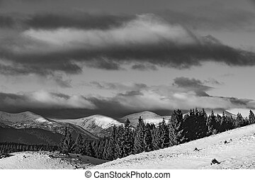 Winter mountain landscape in black and white color.