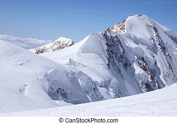 winter mountain landscape in the Swiss Alps with a detail ...