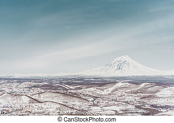 Winter mountain landscape. Kamchatka peninsula, Russia
