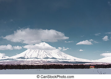 Winter mountain landscape. Kamchatka peninsula