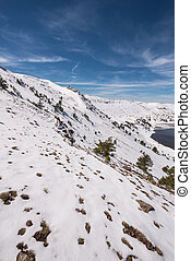 Winter mountain landscape of Neila lagoons park, in Burgos, Demanda mountain range, castilla y Leon, Spain.