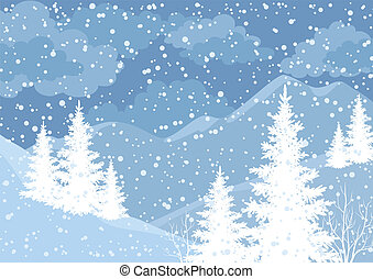 Winter mountain landscape with fir trees and snow, white and...