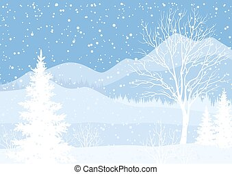 Winter mountain landscape with fir trees
