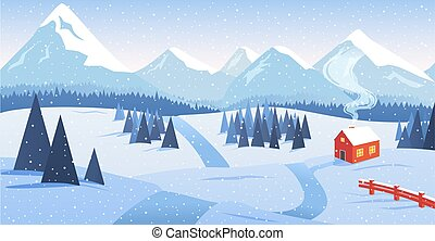 Winter mountain landscape with forest and lonely house by the road with falling snow. Hermitage, asceticism, rest from people, loneliness, vector illustration. Suitable for a Christmas card.