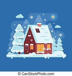Winter Mountain Log Cabin