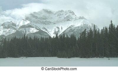 Winter mountain - Mount Cascade in Banff National Park,...