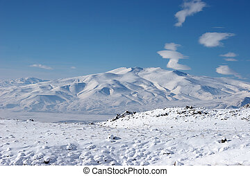 Winter mountain near Mount Ararat, Turkey
