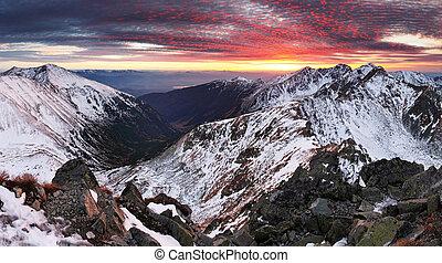 Winter mountain panorama landscape - sunset, Slovakia