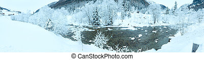 Winter mountain river landscape