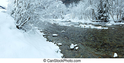 Winter mountain river panorama.