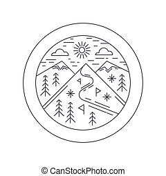 Winter mountain sticker, vector illustration. Ski resort concept, outline design.