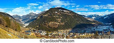 Winter mountain village panorama (Austria).
