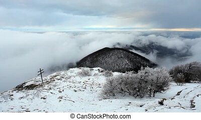 Winter mountain with clouds - lime