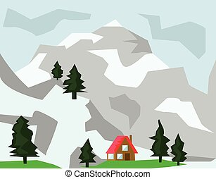 Winter Mountains and House with Red Roof
