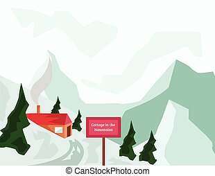 Winter Mountains and Tourist Cottage