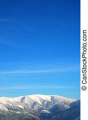 winter mountains blue sky