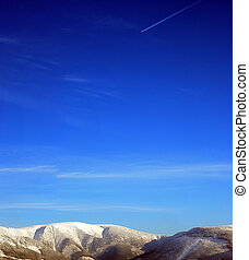 winter mountains blue sky