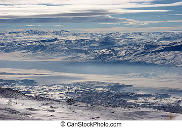 Winter mountains covered with snow at Turkey-Iran border