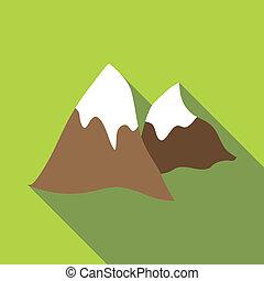 Winter mountains icon, flat style