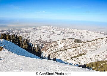 winter mountains in Ak Bulak, Almaty, Kazakhstan, Asia