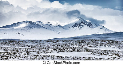 Winter mountains landscape, Iceland