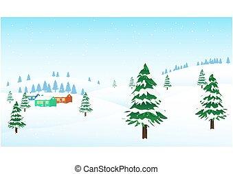 Winter Mountains landscape with Little resort village.