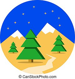 Winter Mountains landscape with pine forest. Christmas background. Flat design, vector illustration