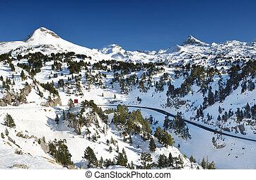 Winter mountains near the ski resort Pierre Saint Martin