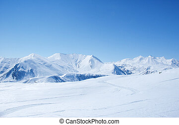 Winter mountains on a bright sunny day