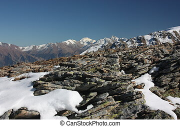 Winter mountains on a sunny day, the resorts of the Caucasus