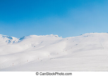 Winter mountains on bright winter day