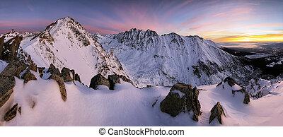 Winter mountains on sunset