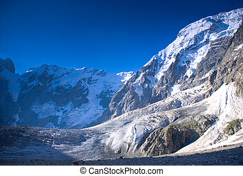 Winter mountains peaks with ice and snow