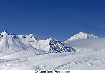 Winter mountains, ski resort