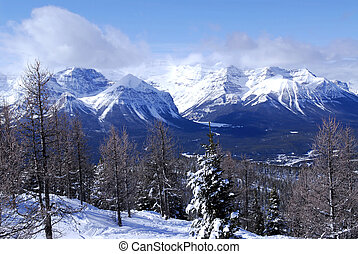 Winter mountains - Snowy mountain ridges at Lake Louise in...