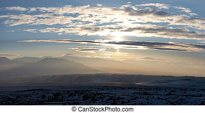 Winter mountains sunset panorama to the south of Ararat, Turkey